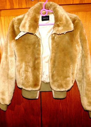 Меховая курточка, полушубок, тёплая, zebra