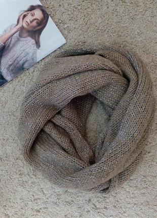 Seasons шарф хомут/снуд бежевый с металлической ниткой