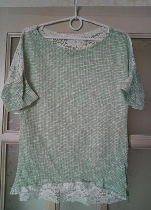 Кофточка нарядная блуза футболка с коротким рукавом гипюр
