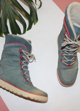 37 24см ecco кожаные сапоги на шнуровке ботинки зимние термо