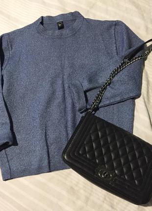 Сине-серый стильный джемпер-свитер рукав укороченный over size