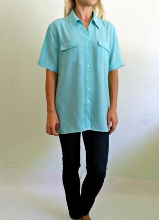 Мятная блуза с коротким рукавом 16