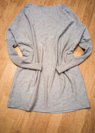 Серое платье прямое оверсайз длинный рукав теплое