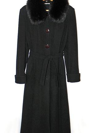Кашемировое пальто макси со съемным меховым воротником и манжетами из песца
