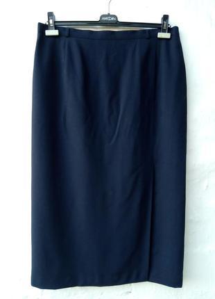 Красивая теплая темно синяя 100% шерстяная юбка карандаш,большой размер,базовая,шолк.
