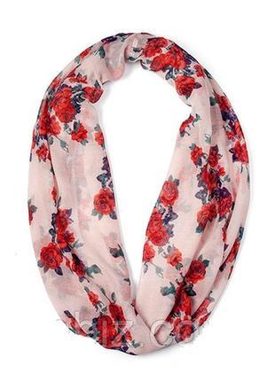 Круговой шарф платок снуд роза шарфик эйвон