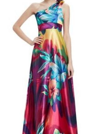 Вечернее платье в пол, нарядное атласное платье на одно плечо.