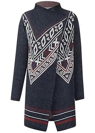 Кардиган кофта свитер шерстяной коттоновый в этно стиле на запах жаккардовый l xl xxl