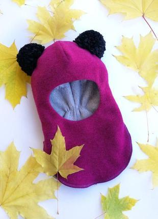 "Яркая шапка-шлем ""панда"" девочке"