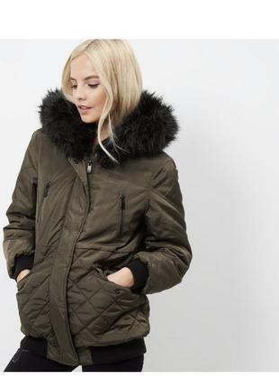 -25% на все! тёплая удлиненная куртка демисезон с капюшоном и мехом, парка, пальто хаки