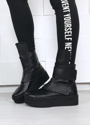 Рр 36-40 зима натуральная кожа люксовые супер стильные черные высокие ботинки на платформе