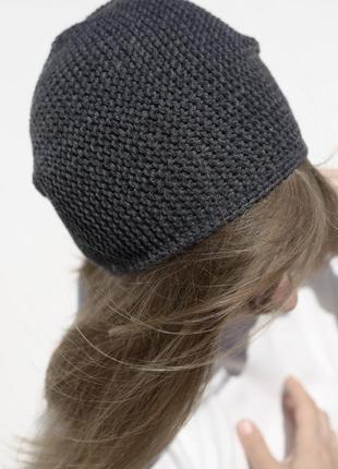 Мериносова легка темно-сіра шапка біні (мериносовая бини)