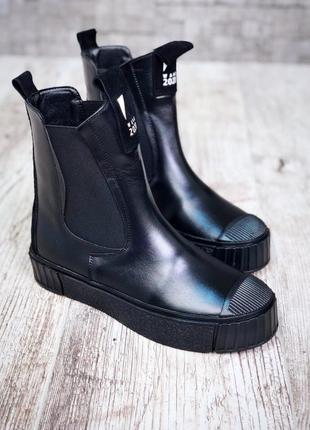 Рр 36-39 зима натуральная кожа люксовые стильные черные ботинки на платформе