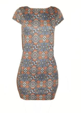Платье приталенное в обтяжку облегающее этнический принт геометрический размер 10 наш 44