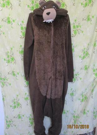 Кигуруми/слип/ медведь теплая махровая пижама m l унисекс