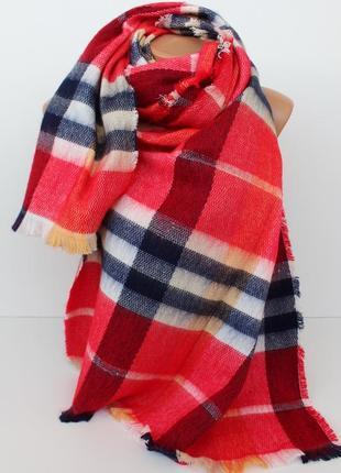 Теплый женский шарф плед палантин