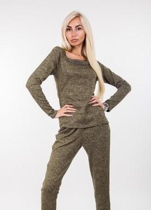 Модный модний трикотажный комплект костюм монолук с бусинами спорт-шик разные цвета р.s-l