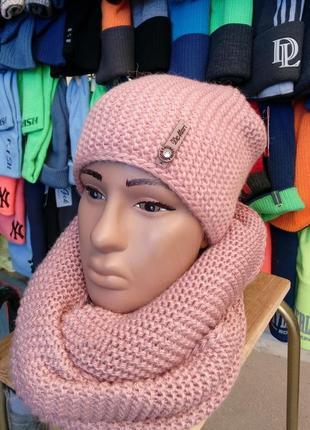 Набор-комплект шапка вязаная бини (чулок) + снуд женский \  de mari