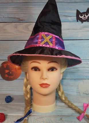 Маскарадная карнавальная шляпа ведьмы с паетками на хэллоуин helloween