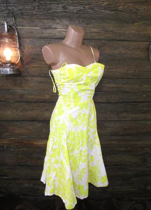 Платье легкое zara, xs, хлопок, желто-белое, нужен легк, ремонт, уценка!
