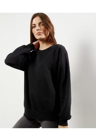 Чёрный свитшот оверсайз, худи с начесом asos, толстовка тёплая, кофта