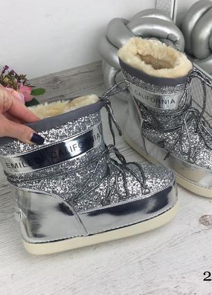 Сапоги луноходы серебро