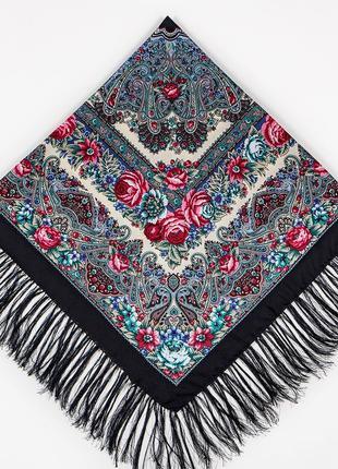 Тёмно-синий павлопосадский шерстяной платок осеннее танго