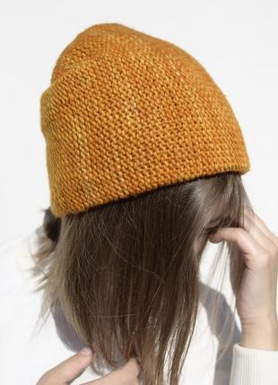 Жовтогаряча тепла мериносова шапка біні ( мериносовая бини)