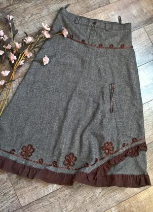Теплая шерстяная миди юбка/серая/коричневая/фасон трапеция-42р-l-ка