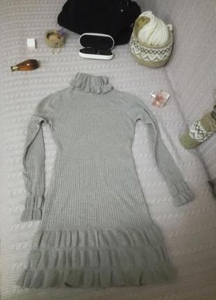 Серо-бежевое мягчайшее и теплое кашемировое платье, р.xs