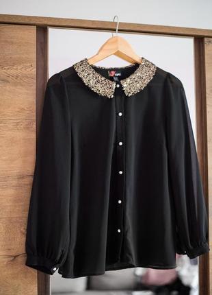 Прозора блуза з паєтками