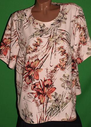 Нежная пудровая блуза (3хл замеры) с узором, превосходно смотрится