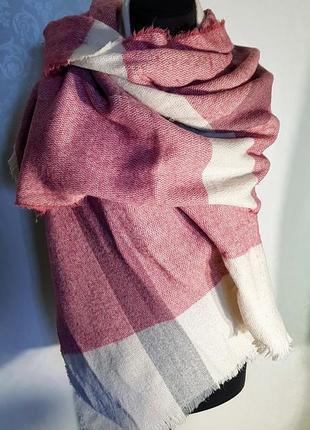Клевый теплый большой шарф палантин в клетку в пастэльных тонах .