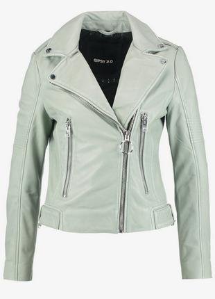 Новая. 100% кожа. куртка-косуха ультрамодного цвета gipsy, германия  xs/s мята