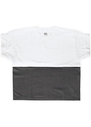 Женская укороченная бело-графитовая футболка из 100%ного хлопка