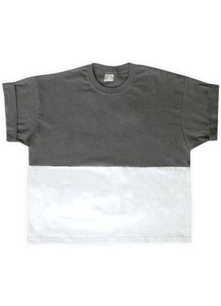 Женская графитово-белая укороченная футболка из 100%ного хлопка