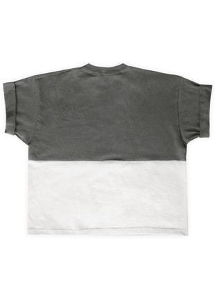 Женская графитово-белая укороченная футболка из 100%ного хлопка4