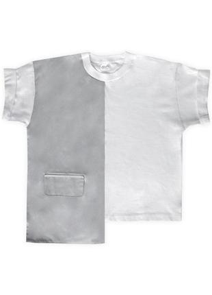 Женская асимметричная укороченная серо-белая футболка из 100%ного хлопка