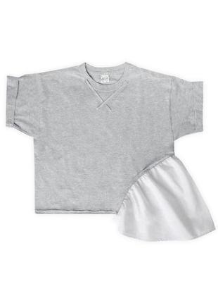 Женская асимметричная футболка серая с необычной белой оборкой сбоку из 100%ного хлопка