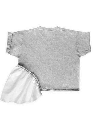 Женская асимметричная футболка серая с необычной белой оборкой сбоку из 100%ного хлопка4 фото