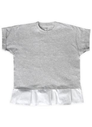 Женская укороченная футболка с белой оборкой из 100%ного хлопка