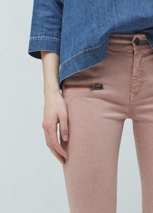 Брендовые женские светло розовые коттоновые джинсы mango бангладеш скинни skinny