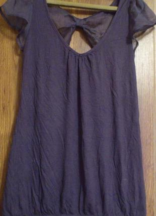 Классная трикотажная блузка с шифоновой отделкой бренд warehouse