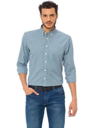Белая мужская рубашка lc waikiki / лс вайкики в сине-голубую полоску с карманом на груди3 фото