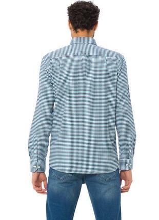 Белая мужская рубашка lc waikiki / лс вайкики в сине-голубую полоску с карманом на груди4 фото