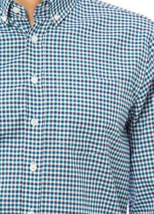 Белая мужская рубашка lc waikiki / лс вайкики в сине-голубую полоску с карманом на груди5 фото