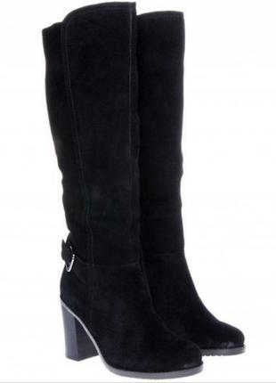 Сапоги braska замшевые высокие на каблуке черные