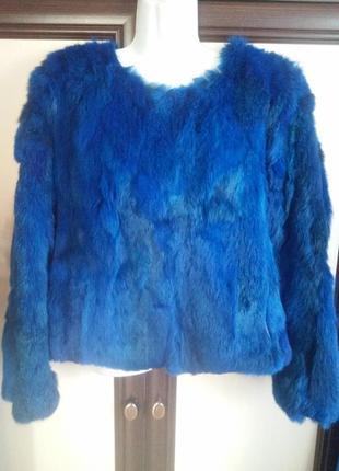 Укороченная шуба-куртка из кусочков натурального меха кролика, яркая меховая куртка деми.