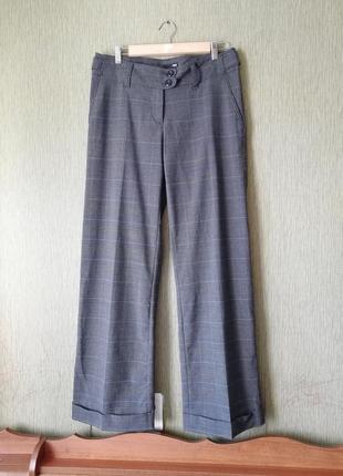 """👑 классические прямые брюки в клетку""""гленчек 👑 серые широкие брюки"""