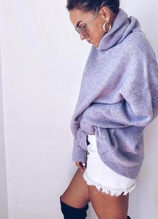 Уютный лавандовый свитер оверсайз турция